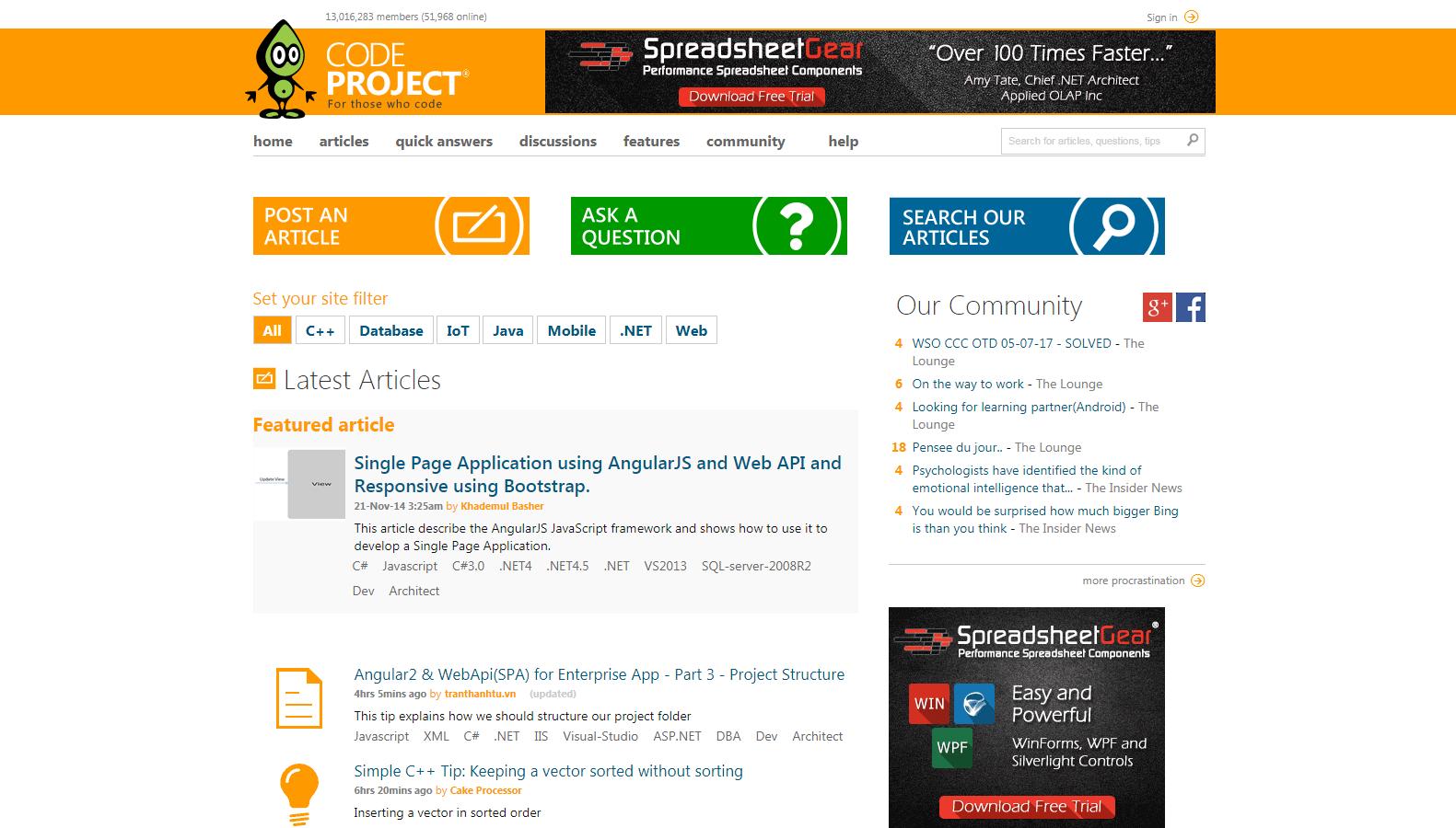 nauka programowania serwis społecznościowy code project