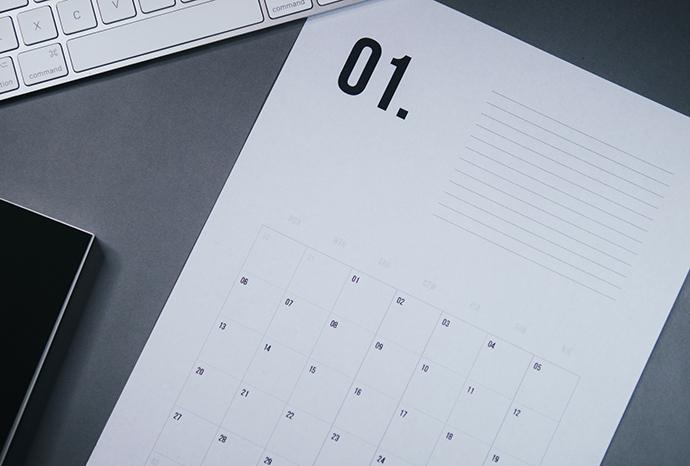 kalendarz na 2020 do druku z miejscem na notatki