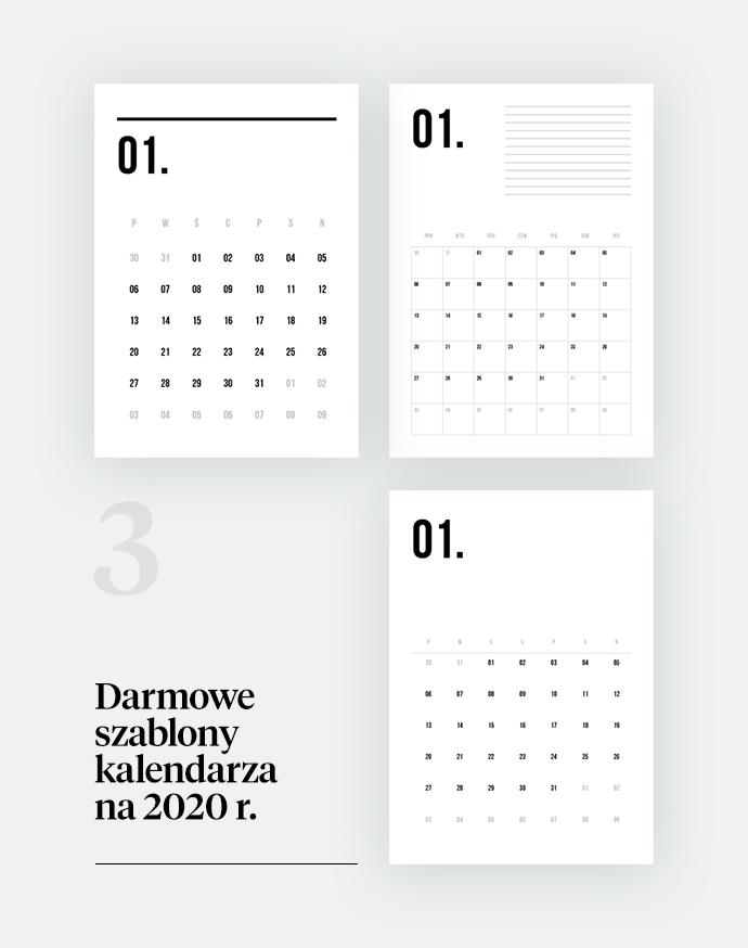 minimalistyczny kalendarz na 2020