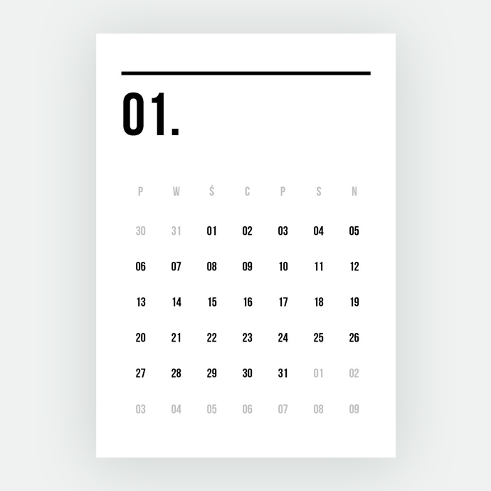 kalendarz 2021 minimalizm